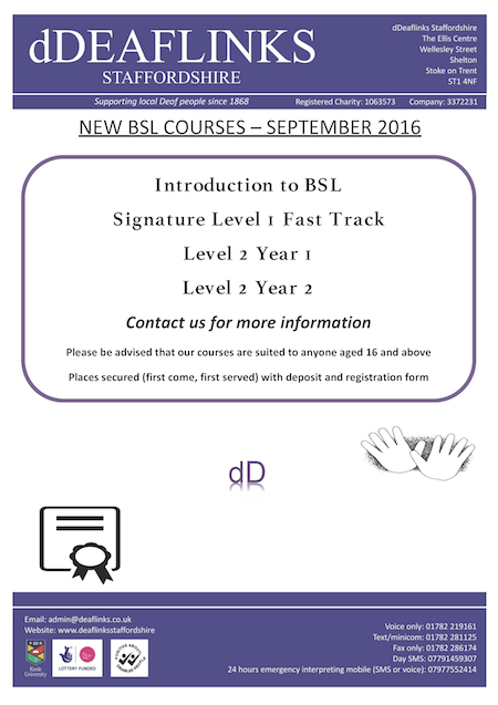 Deaflinks Staffordshire New BSL Courses 2016-17